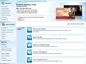 Vistaprint Screenshot Designs