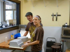 Jill and Stephen in Cold Kitchen Making Todays Cakes